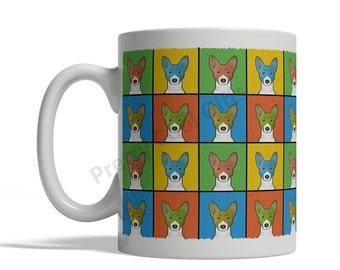 Basenji Dog Cartoon Pop-Art Mug - 11oz. Ceramic Coffee Tea Cup