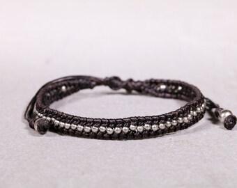 Brown/black Silver Beads Bracelet- Unisex Bracelet, Beaded bracelet, B37