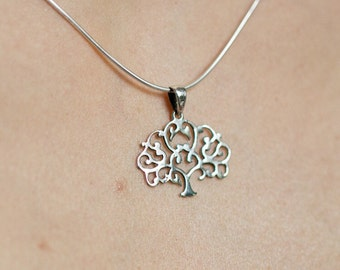Silver tree of life pendant, Sterling Silver chain, Silver pendant,  Silver necklace, 925 silver, Religious necklace (P10)