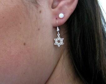 Star of David earrings, sterling silver jewelry, Silver Star of David earrings, Star of David jewelry, magen David earrings, Jewish jewelry