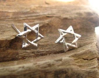 Star of David earrings, stud earrings, silver jewelry, Silver Star of David ,Star of David jewelry, magen David earrings, Jewish jewelry