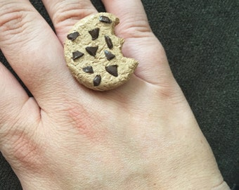 Chocolate Chip Cookie Ring - Polymer Clay Cookie Ring - Adjustable Size