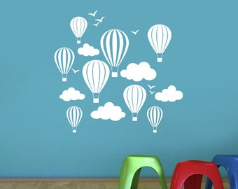 Children's Hot Air Balloons with Clouds & Birds Wall Sticker - Art Vinyl Decal Transfer, Childrens Nursery Bedroom - by Rubybloom Designs