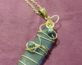 Sea glass blue summer necklace