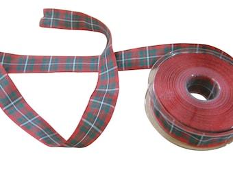 MacGregor Scottish Tartan Red Green White Reversible Ribbon 25mm *4 Lengths*