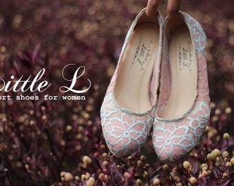Wedding Shoes - Bridal Pink Blue Heels or Flat Custom