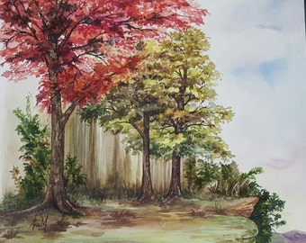 "Original  Framed Watercolor Painting ""Autumn Summit"". Watercolor Landscape"