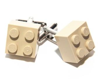 Cream Lego Brick Cufflinks Wedding Cuff Link Gift Birthday With Gift Bag
