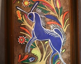 Blue Stag Amate (Bark Paper) Painting * Mexican Folk Art