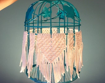 Turquoise Birdcage with Macrame Decoration