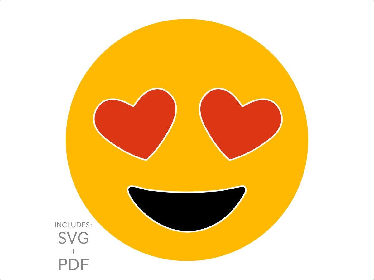 Cuttable Emoji SVG Heart Shaped Eyes Lover Emoticon Funny