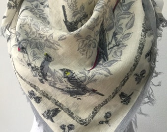 Square scarf with birds / cotton scarf /
