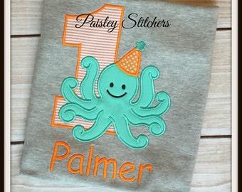 Personalized Octopus Birthday Shirt