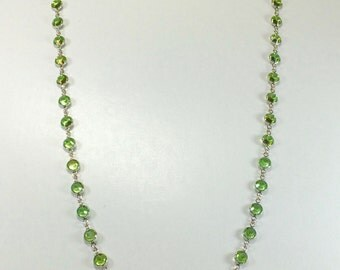 "Raindrops Necklace - Peridot/Rhodium 36"" Swarovski crystal"