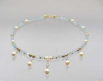 Blue aquamarine necklace with 585 gold and pearls unique forged master work