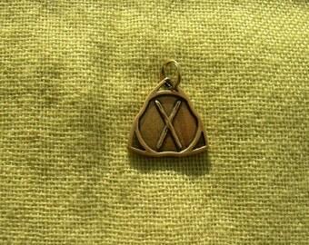 Gebo Rune pendant. Bronze Gebo Rune. Scandinavian Rune pendant. Viking Nekclace.