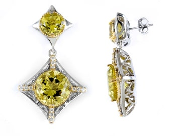 True Two Tone 18k Gold & Sterling Silver Earrings with Lemon Quartz and Diamonds
