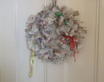 Handmade Unique OOAK memory keepsake wreath, upcycled material,  personalised bereavement memorial
