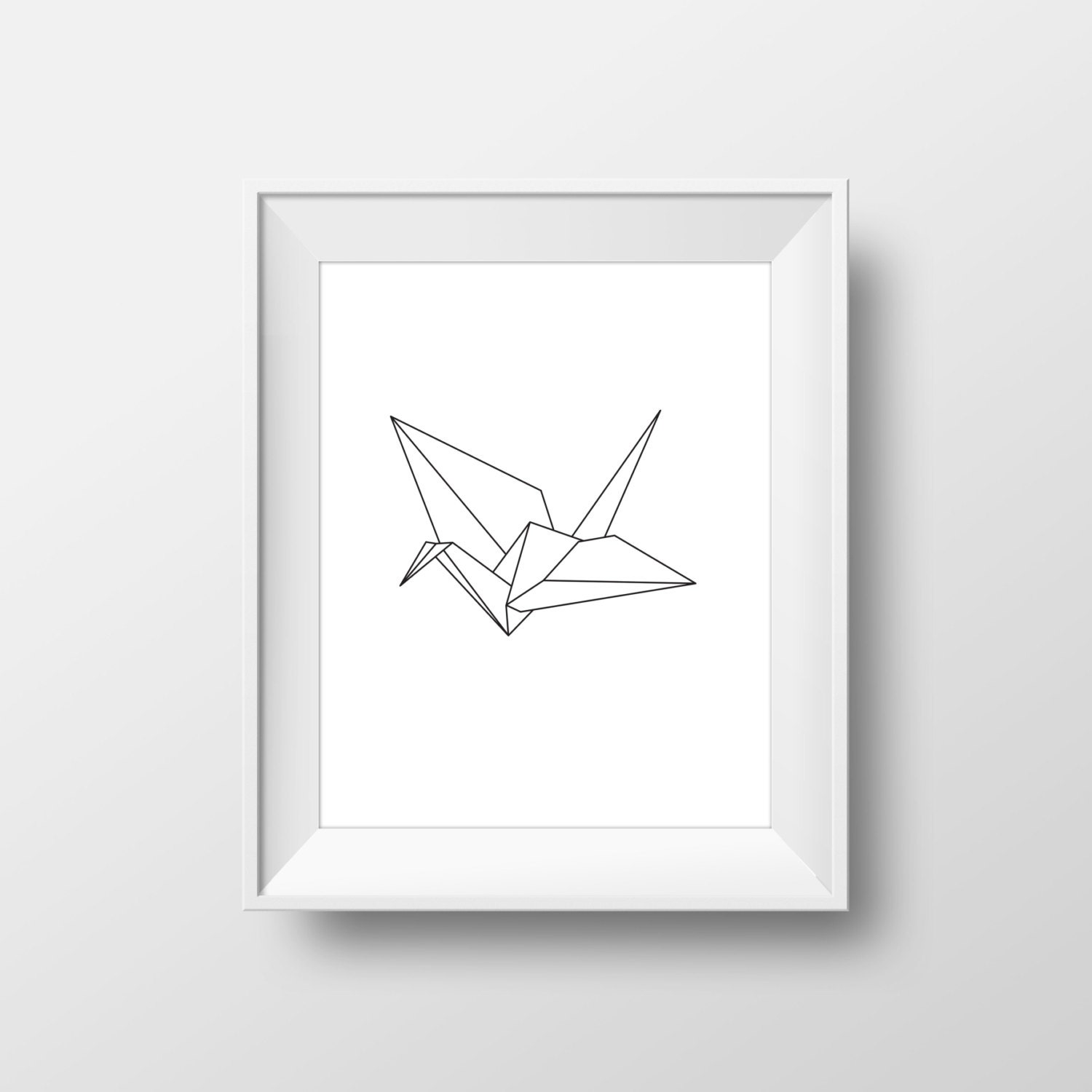 Sale origami crane poster minimal wall decor japanese for Minimal art wall