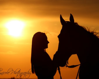 Silhouette Photography, Horse Photography, Girl and horse, Sunset Photography, Country, Summer Sunset