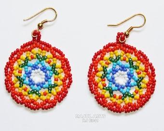Round Multi colour Bead Earring