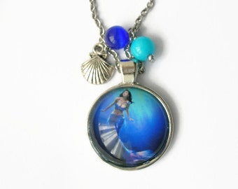 Cabochon glass Mermaid necklace