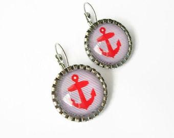 Earrings cabochon glass anchor marine