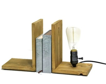 Bookends lamp. Wooden Bookend. Wooden lamp. Edison lamp. Vintage lamp. Retro wooden lamp.  Gift lamp. Table lamp. Best gift. Birthday gift