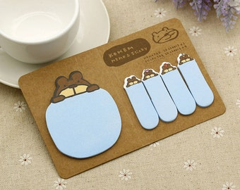Bear Sticky Notes / Cute Sticky Notes / Cute Stationery / Kohem Sticky Notes / Sticky Tabs / Kawaii Stationary / Office Supplies / Memo Pads