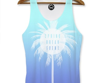 Spring Break Event Blue Vest Mens Palm Party Holiday Singlet Sleeveless Tank PP105