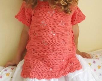 Girls Crochet tunic, summer tunic, short sleeve tunic for girl