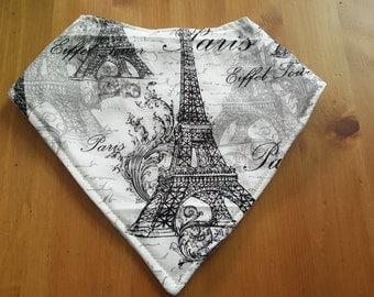 Paris themed bandana bib