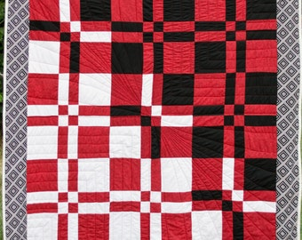 Throw Quilt - Red, White and Black Throw Quilt