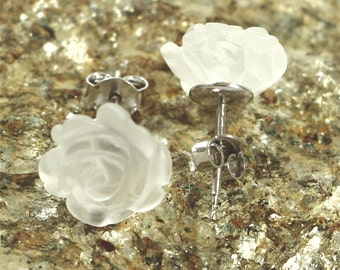 Genuine Crystal Quartz Matte, Stud Earrings - Silver Earrings - Sterling Silver 925 Earrings - 12mm Carved Rose Earrings