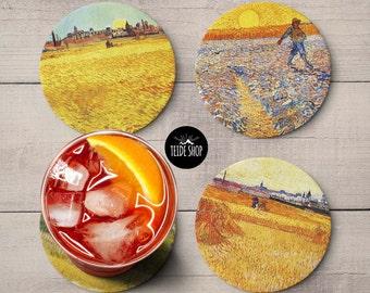 Van Gogh Coaster Set Print Art Painting Cork Designer Coaster Set Birthday Housewarming Gift Idea Wheat Fields Drink Coasters