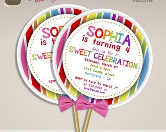 Sweet Shop Candyland Birthday Party DIY Lollipop invitations sweet shoppe DIY printable lollipop invite