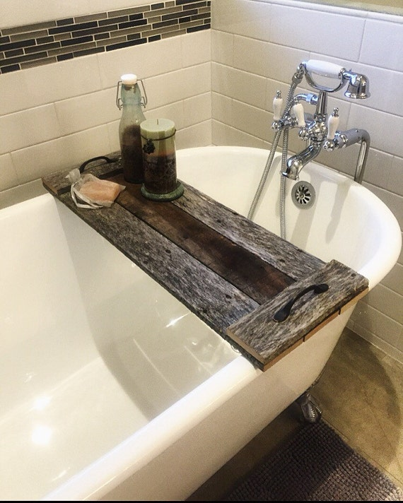 reclaimed wood bath caddy pallet wood tray by. Black Bedroom Furniture Sets. Home Design Ideas