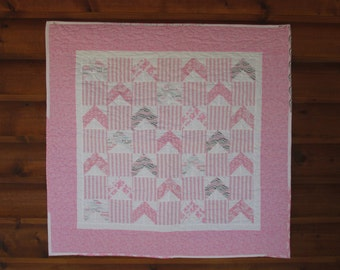 Baby Quilt, Baby Girl Quilt, Handmade Baby Quilt, Pink, Chevrons, Patchwork Quilt, Candy Stripe Pink, Free Shipping to USA