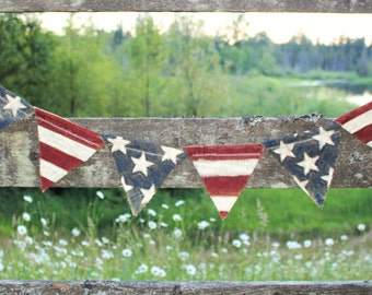 Rustic American Flag Banner//Free Shipping