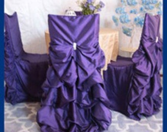 Wedding chair cover, gathered back chair cover, Ruffled Wedding Chair Covers Bustled, Ruched Chair Covers