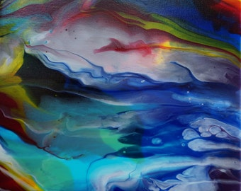 """Abstract Art, Original Painting on Canvas Title: Prismatic  Blue, Purple, Red, and Yellow 12""""x12""""x1"""""""