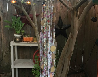 Macramé style mobile with ribbon, yarn, paper cut Garland, and lace