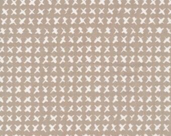 "Cloud9 Cross Stitch GRAY ""Around the Block"" by Skinny LaMinx 100% Organic Quilting Cotton"