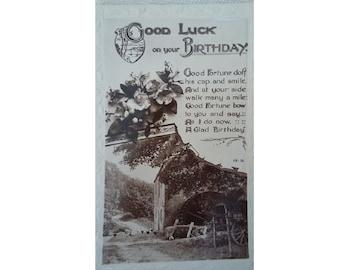 1930's Good Luck birthday card (December 2 1932, Belfast)
