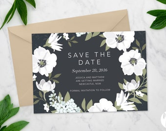 Printable Save the date | Wedding invitation | Black and White Floral