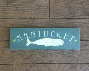 Nantucket Sign, Whale Sign, Beach Nautical Coastal Decor, Beach Cottage