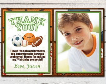 "Sports Athlete Printable 4"" x 6"" Thank You Card - DIY - PDF & JPG Files only"
