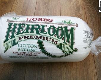 "Hobbs Heirloom Premium Cotton Batting King Size (120"" x 120"" / 304.8cm x 304.8cm) FREE SHIPPING"