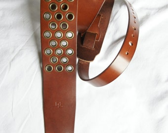 """handmade leather guitar strap made in France Urban Cam """" The 603 mahogany"""""""