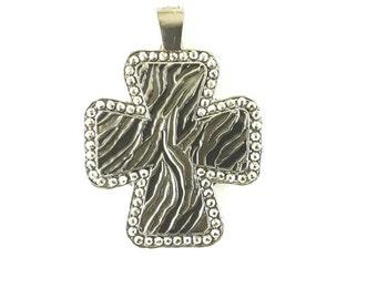 Tiger striped square cross pendant